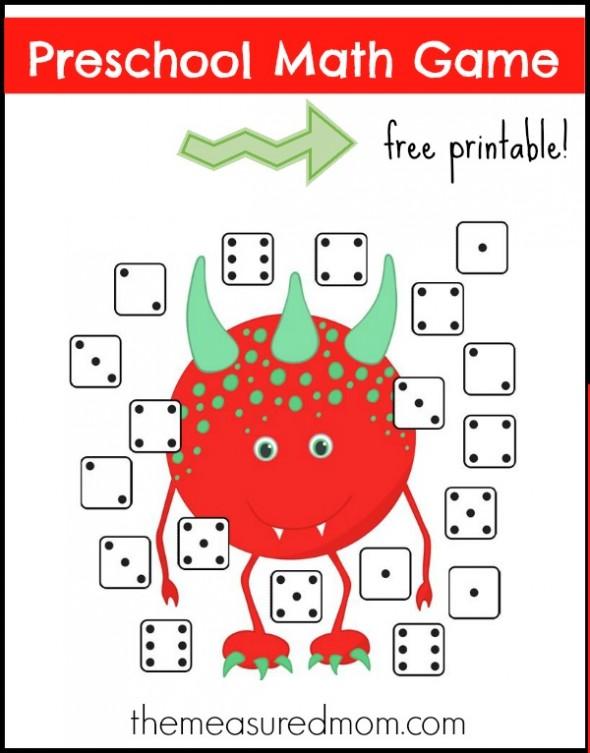 preschool math game monster dice match the measured mom 590x753 - Math Games For Kindergarten Kids