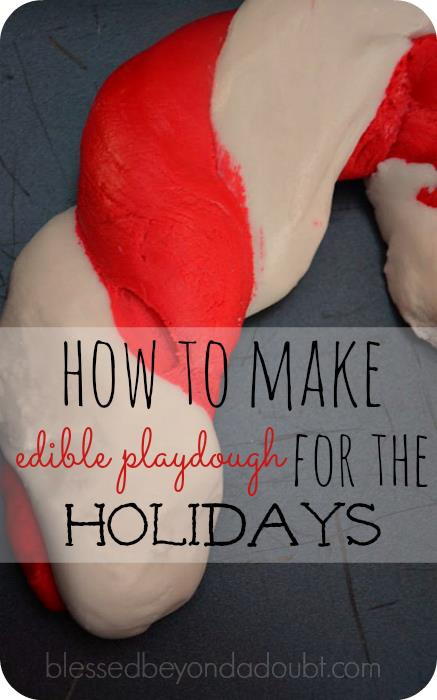 Edible Candy Cane Playdough, Peppermint Play do recipe and free printable!