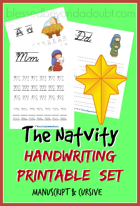 FREE Nativity Handwriting Set in Manuscript and Cursive!