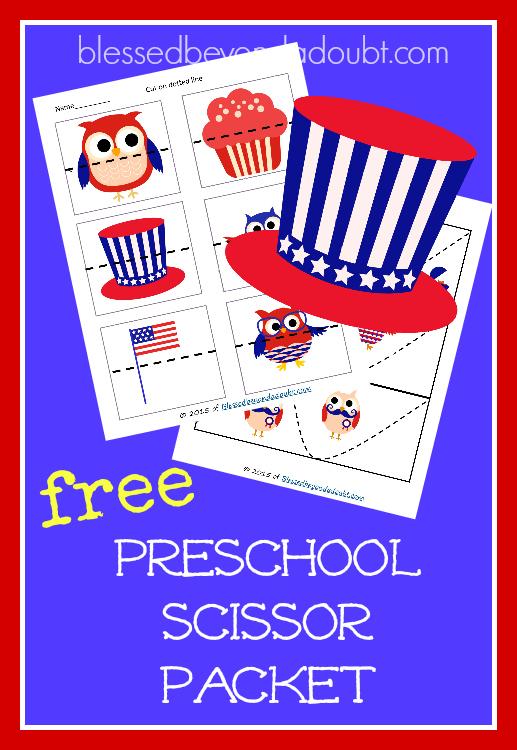 FREE Preschool Scissor Pack - 4th of July edition! Super cute!