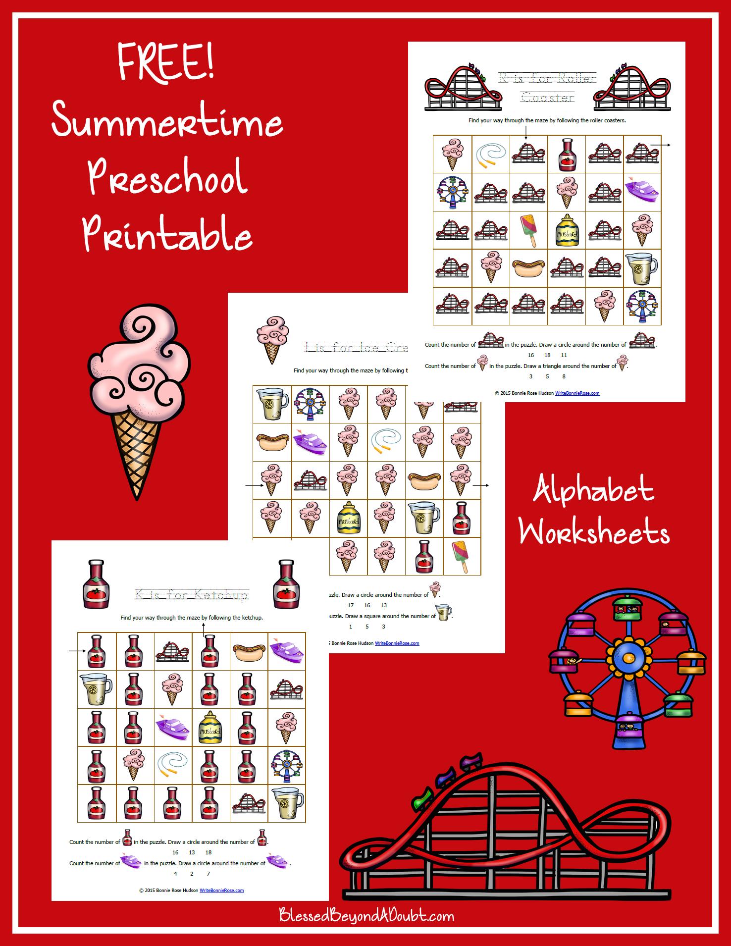 Summer-Themed Preschool Letter Pack