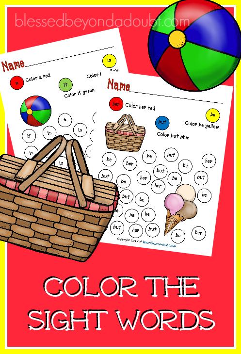 sight-words-summer-edition Kindergarten Sight Word Coloring Worksheets on spring color, make color,