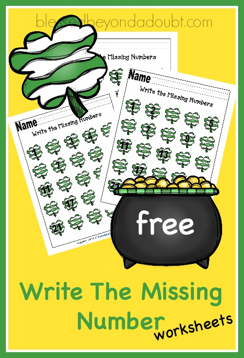 FREE Write the Missing Number - Shamrock Edition printables. This is perfect for PreK and K.