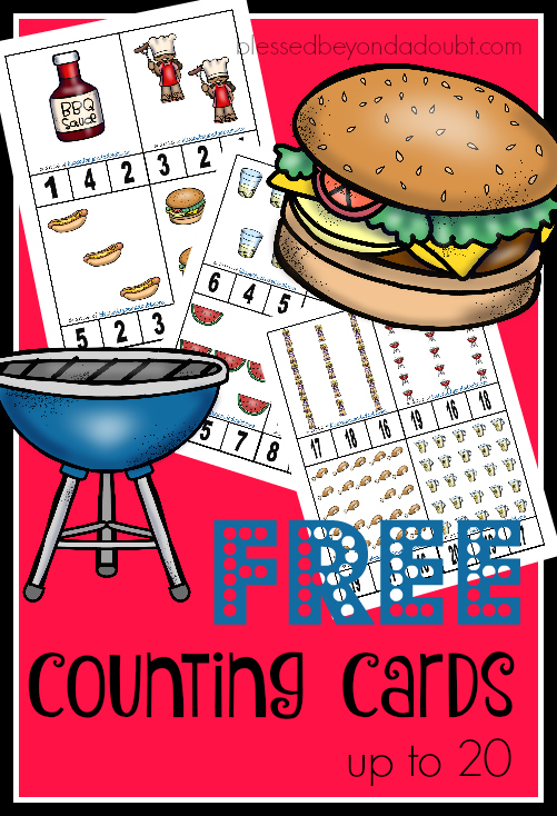 FREE Counting Cards - BBQ edition! The cards go up to 20.
