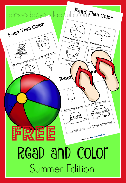FREE Read and Color summer worksheets. It's keeps them reading during the summer months.